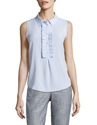 Eliza J Pleated Placket Sleeveless Top Oxford Blue