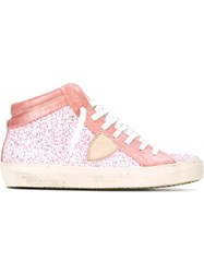 Philippe Model Glitter Hi Top Sneakers Pink And Purple