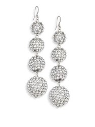 Kenneth Jay Lane Four Ball Crystal Drop Earrings Silver