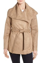 Women's Laundry By Shelli Segal Belted Faux Suede Jacket Tan