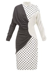 Rodarte Draped Polka Dot Faille Midi Dress Black White