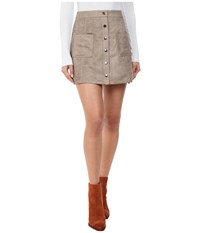 Bb Dakota Callister Faux Suede Button Front Skirt Stone Brown Women's Skirt