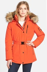 Women's Michael Michael Kors Belted Down And Feather Fill Parka With Detachable Faux Fur Trim Hood Orange
