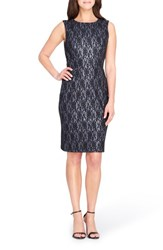 Tahari Women's Bonded Lace Sheath Dress Shadow Black