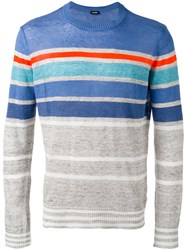 Diesel Striped Knit Jumper Grey