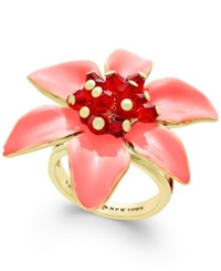 Kate Spade New York Lovely Lillies Gold Tone Enamel Flower Statement Ring