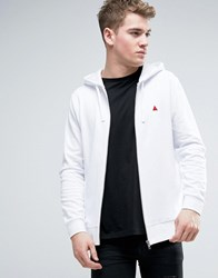 Asos Zip Up Hoodie In White With Logo White