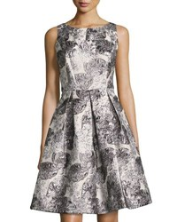 Nicole Miller New York V Back Jacquard Fit And Flare Dress Silver
