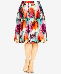 City Chic Plus Size Floral Print Fit And Flare Skirt Magenta