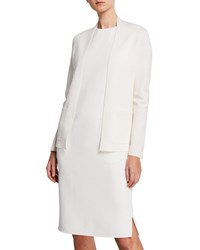 Agnona Wool Knit Jacket W Front Pockets Off White