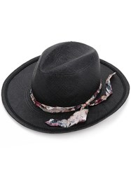 Undercover Patterned Band Hat Unisex Straw 57 Black
