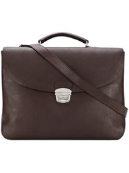 Orciani Foldover Flap Briefcase Brown