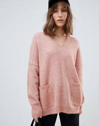 Selected V Neck Pocket Jumper Pink