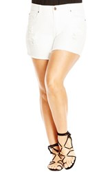 Plus Size Women's City Chic 'White Out' Cutoff Denim Shorts