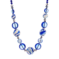 Martick Candy Cane Murano Glass Necklace Blue