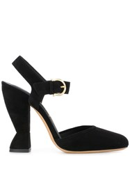 Salvatore Ferragamo Sculptural Heel Mary Jane Sandals Black