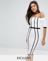 Vesper Off Shoulder Panelled Pencil Dress With Satin Straps White Black