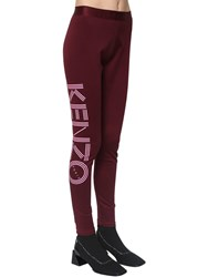Kenzo Logo Print Stretch Cotton Leggings Bordeaux