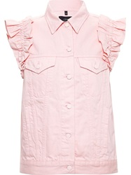 Simone Rocha X J Brand Denim Vest With Ruffle Details Pink And Purple