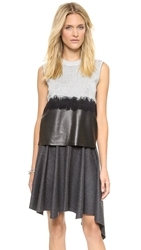 Dagmar Pearl Leather Combo Blouse Silver Black