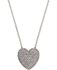 Giani Bernini Cubic Zirconia Pave Heart Pendant Necklace In Sterling Silver Only At Macy's