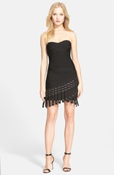 Herve Leger Strapless Sweetheart Minidress With Fringe Black