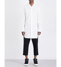 Rick Owens Faun Relaxed Fit Cotton Poplin Shirt Milk