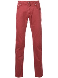 Jacob Cohen Regular Trousers Cotton Red
