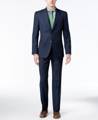 Tommy Hilfiger Men's Slim Fit Navy Sharkskin Suit