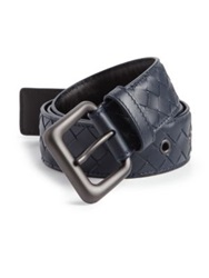 Bottega Veneta Intrecciato Woven Leather Belt Off White Baltic Blue
