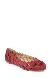 Me Too Women's Scalloped Flat Red Suede