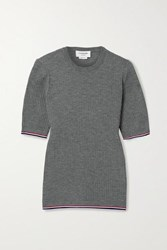 Thom Browne Grosgrain Trimmed Ribbed Wool Blend T Shirt Gray