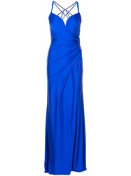 La Femme Strappy Draped Evening Gown Blue