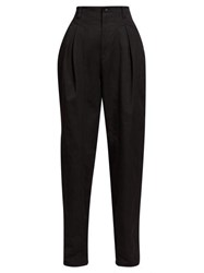 Isabel Marant Handy Inverted Pleat Cotton Tapered Leg Trousers Black