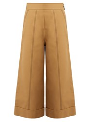 Msgm Contrast Stitch Wide Leg Cropped Trousers Beige