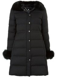 Loveless Padded Faux Fur Collar Coat Polyester Rayon Black