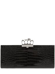 Alexander Mcqueen Four Ring Croc Embossed Leather Clutch Black