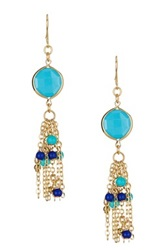 Spring Street Fringe Drop Earrings Blue