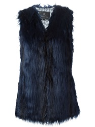 Unreal Fur Faux Fur Gilet Blue