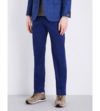 Corneliani Tailored Fit Tapered Stretch Cotton Chinos Open Blue