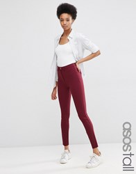 Asos Tall Stretch Skinny Trousers In Ultimate Fit Burgundy Red