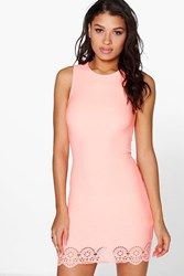 Boohoo Lazer Cut Hem Detail Bodycon Dress Sugar Coral Sugar Coral