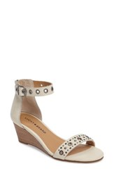Lucky Brand Women's Jorey Ankle Strap Wedge Sandal Sand Shell Leather