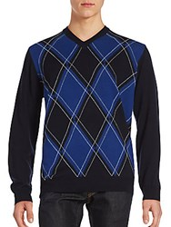 Bugatchi Diamond Knit Long Sleeve Sweater Night Blue