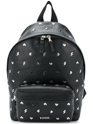 Versus Studded Backpack Cotton Calf Leather Black