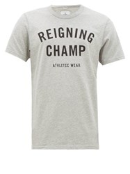 Reigning Champ Logo Print Cotton Jersey T Shirt Grey