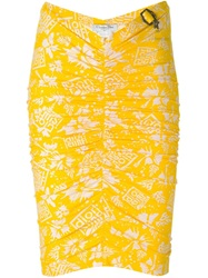 Christian Dior Vintage Fitted Print Skirt Yellow And Orange