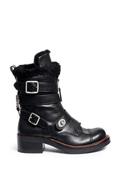 Coach 'Zip Moto' Shearling Leather Buckle Boots Black