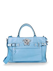 Versace Leather Tote Bag Turquoise