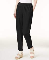 Eileen Fisher System Silk Slouchy Ankle Pants Black